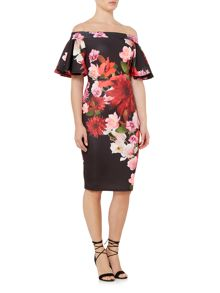 Jessica Wright Bardot Frill Sleeveless Floral Bodycon dress