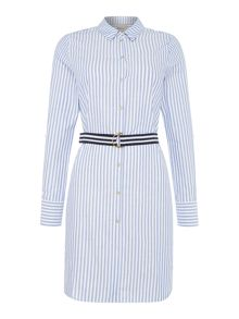 Vero Moda Long sleeve stripe belted short dress