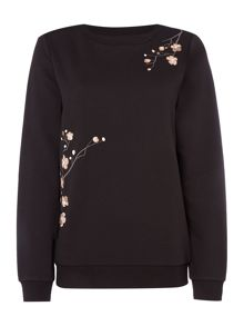 Vero Moda Long sleeve embroidered sweat jersey top