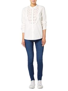Vero Moda Long sleeve crochet frill shirt