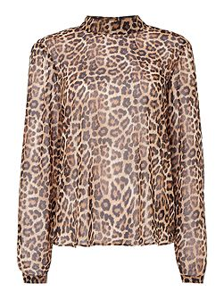 Long sleeve high neck sheer leopard top