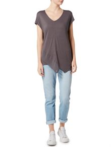 Label Lab Front v neck chiffon mix jersey t-shirt