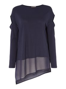 Label Lab Oak cold shoulder jersey chiffon mix top