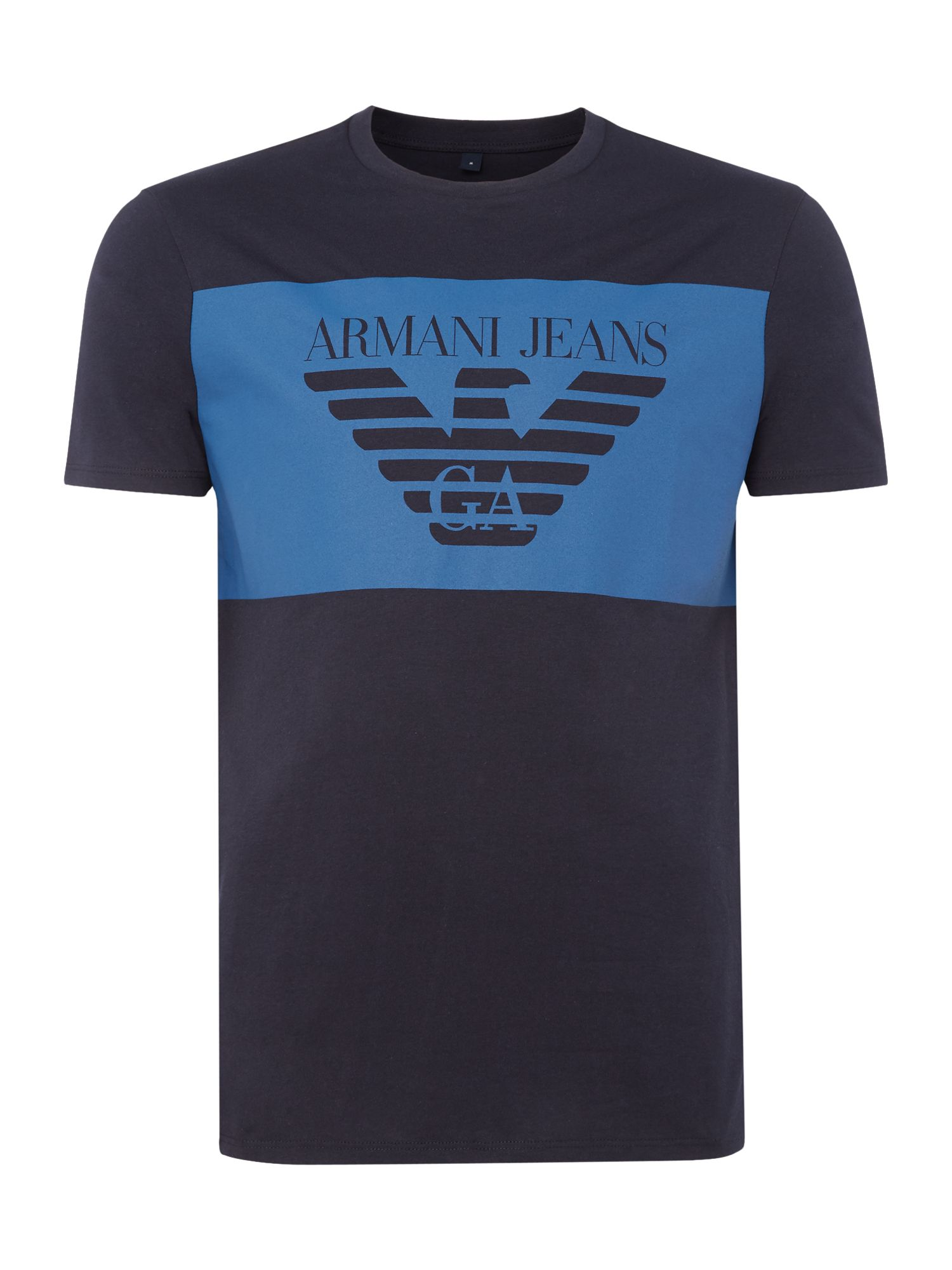 Mens Armani Jeans Regular fit large chest banner logo tshirt Navy
