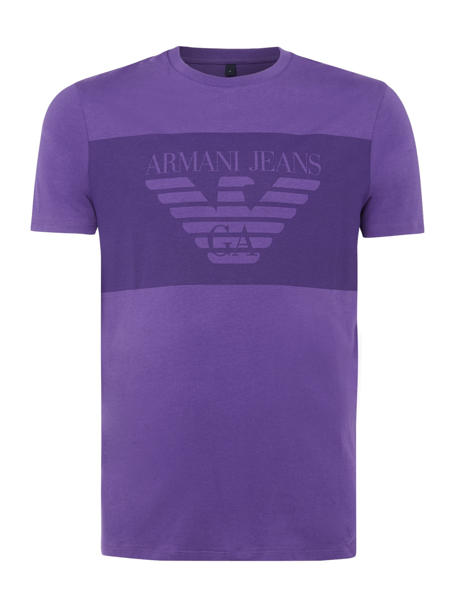Mens Armani Jeans Regular fit large chest banner logo tshirt Purple