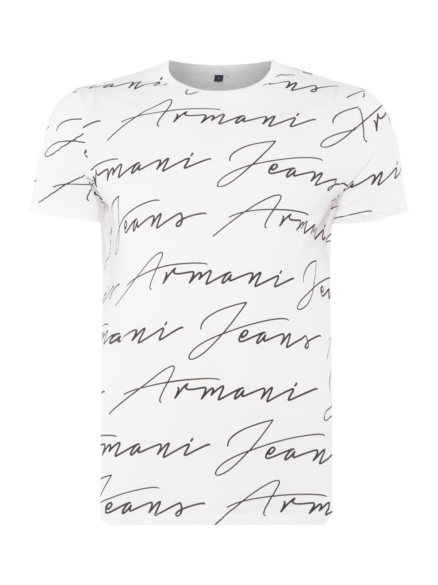 Mens Armani Jeans Regular fit all over script logo tshirt White