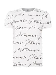 Armani Jeans Regular fit all over script logo t-shirt