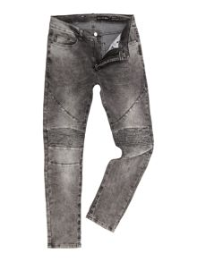 Religion Slim fit washed grey biker jeans