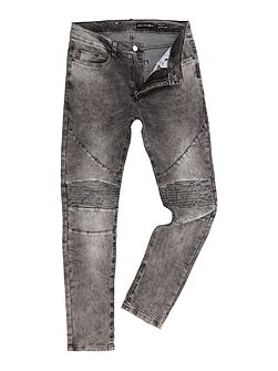 Slim fit washed grey biker jeans