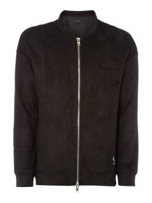 Religion Zip-up faux suede bomber jacket