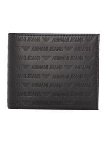Armani Jeans Leather all over embossed logo billfold wallet