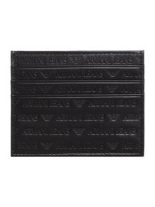 Armani Jeans Leather all over embossed logo credit card holder