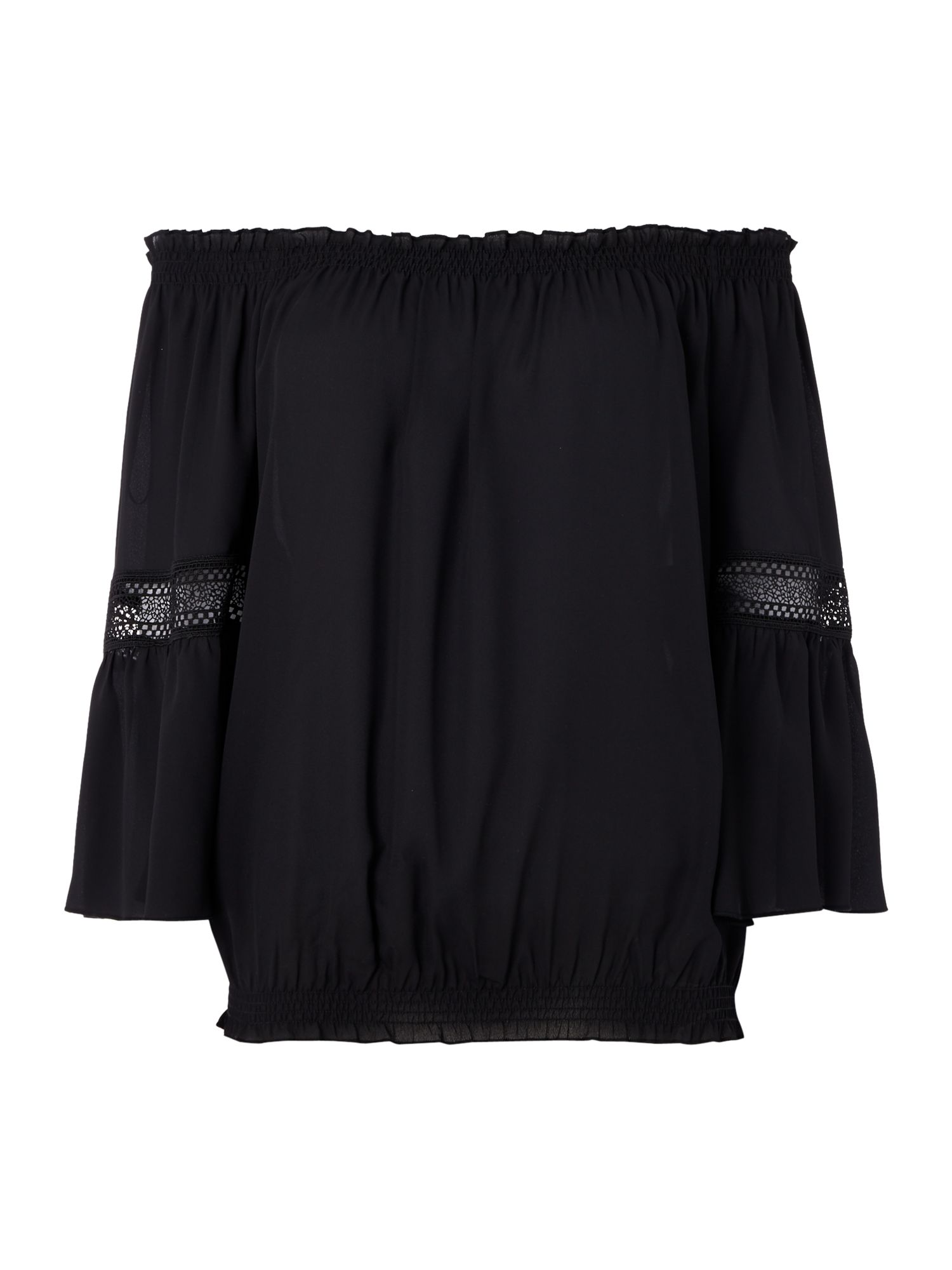 Biba Off the shoulder lace detail blouse, Black