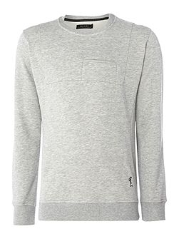 Slit pocket crew neck sweat jumper