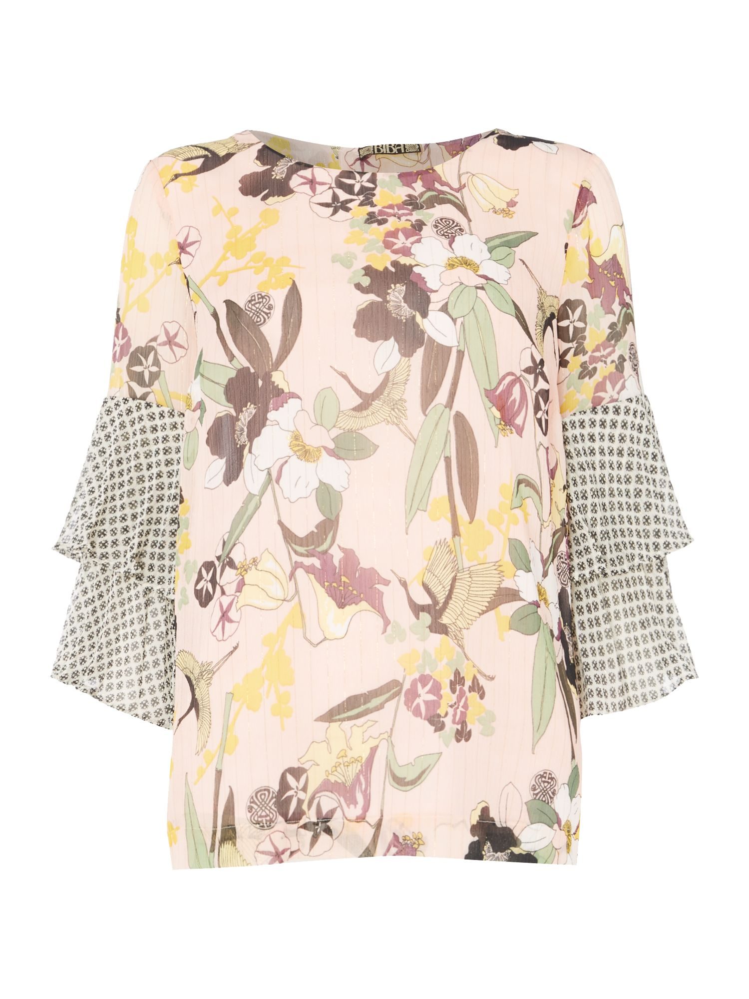 Biba Printed pleat sleeve blouse, Multi-Coloured