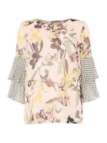 Biba Printed pleat sleeve blouse