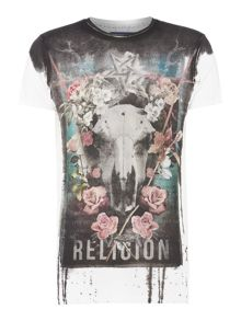 Religion Floral skull collage t-shirt