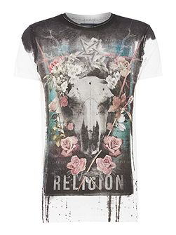 Floral skull collage t-shirt