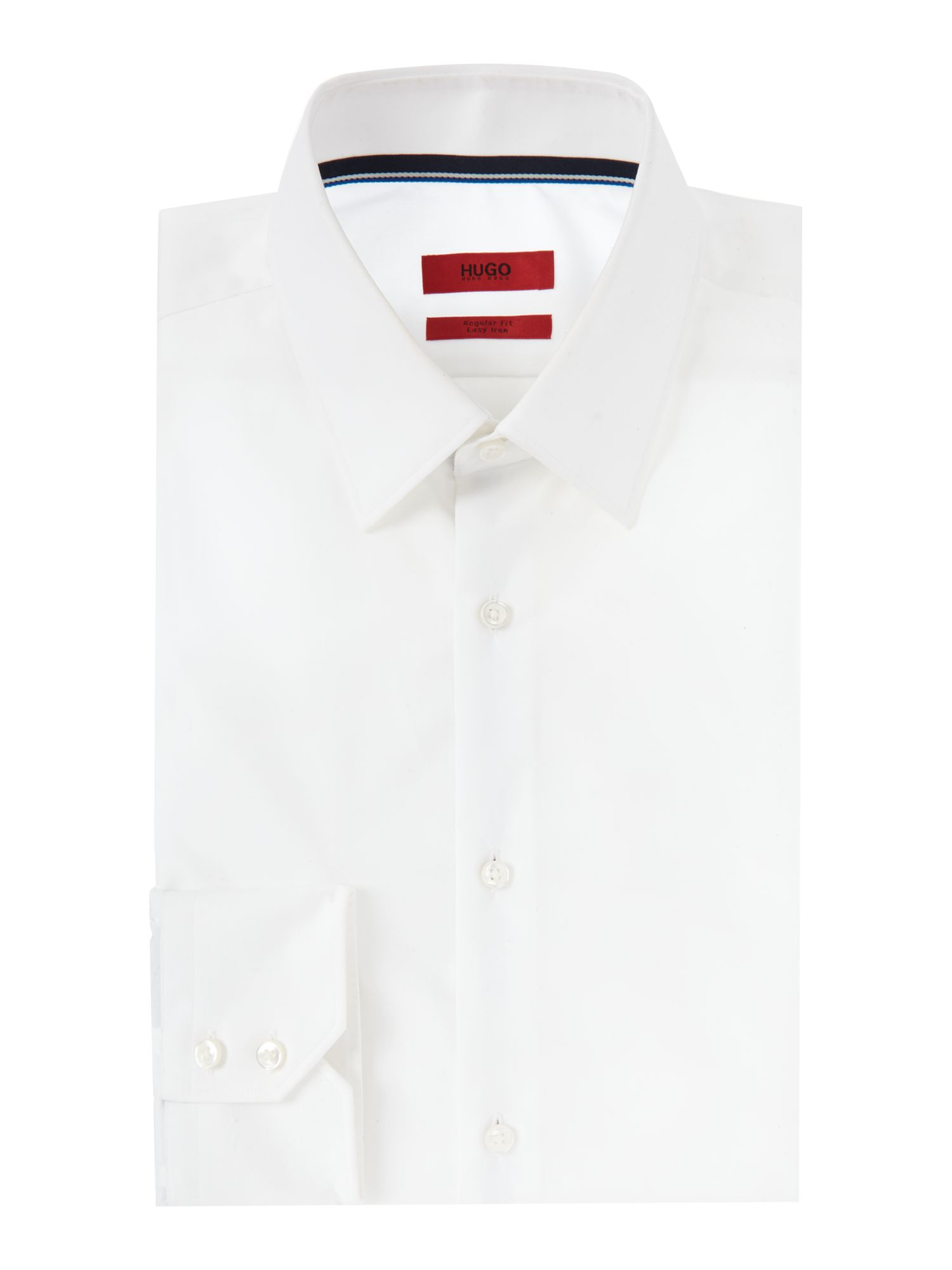 HUGO Men's Hugo Eugen Regular Fit Cotton Shirt With Ribbon Trim, White