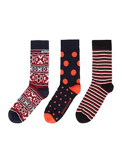 3 Pack Xmas Japanese Print Socks in Box