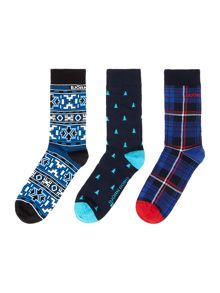 Bjorn Borg 3 Pack Xmas Japanese Print Socks in Box