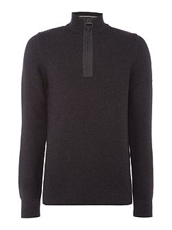 Half zip rib detail jumper