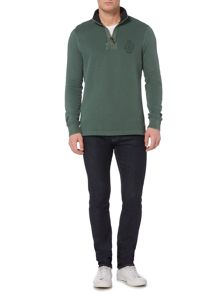 Howick Pasadena Pique Plain Zip Up Funnel Neck