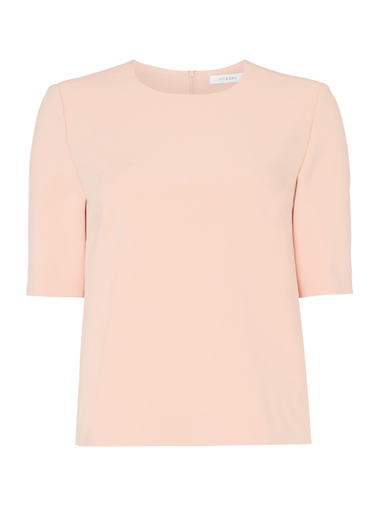 Ivy & Oak Three quarter length sleeve crepe box top, Pink