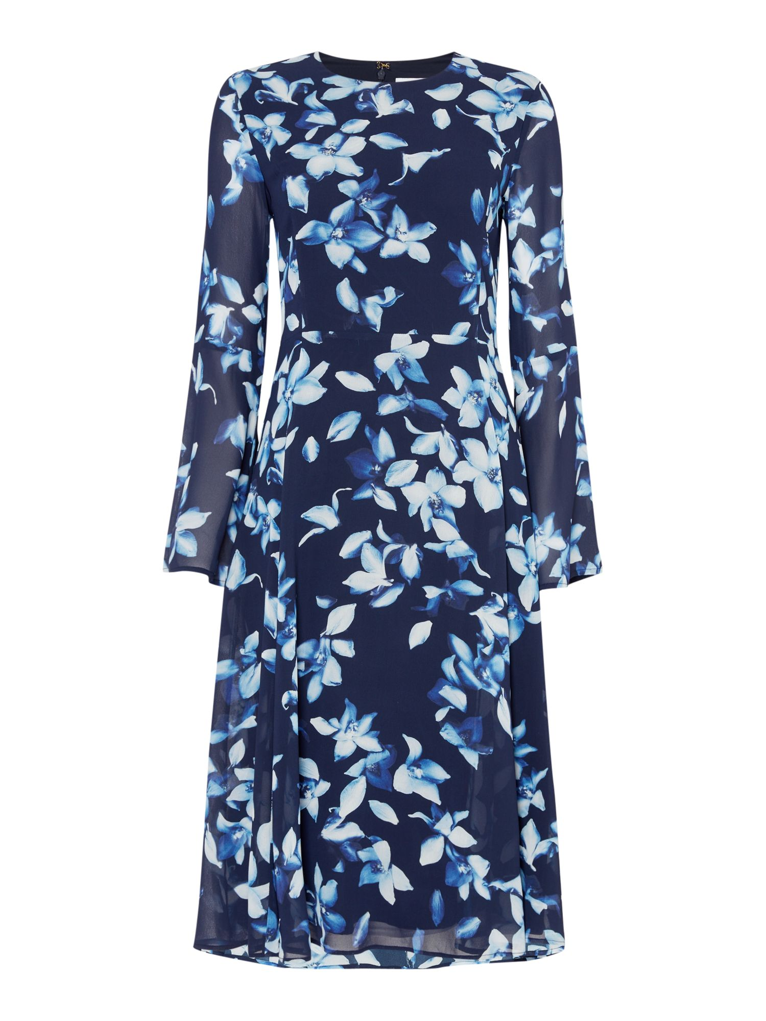 Ivy & Oak Floral print chiffon midi dress with flare sleeve, Midnight Blue