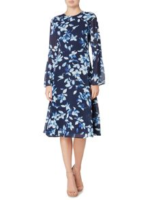Ivy & Oak Floral print chiffon midi dress with flare sleeve