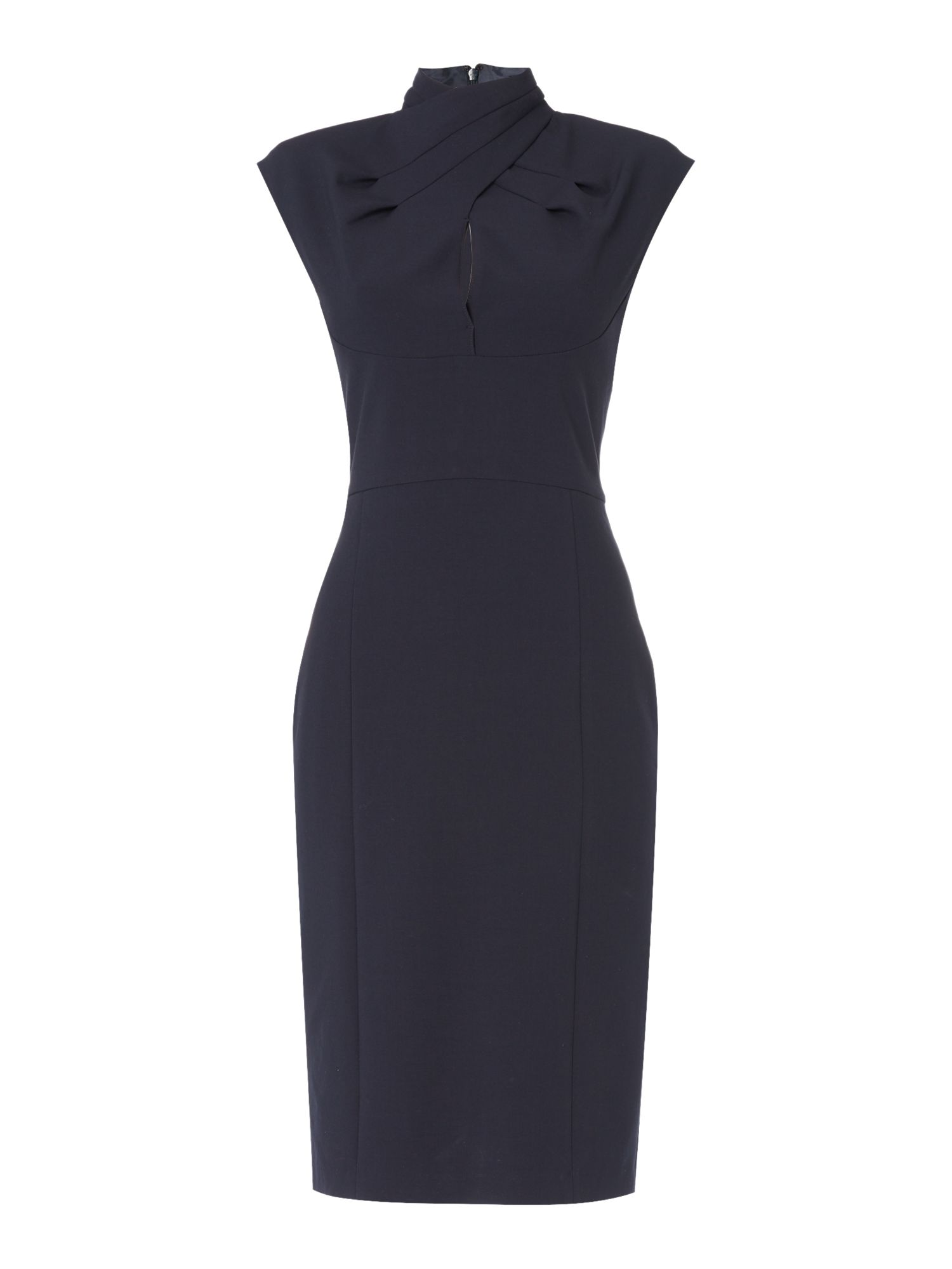 IVY & OAK Ivy & Oak Pencil skirt dress with wrap neck and cap sleeves, Midnight Blue