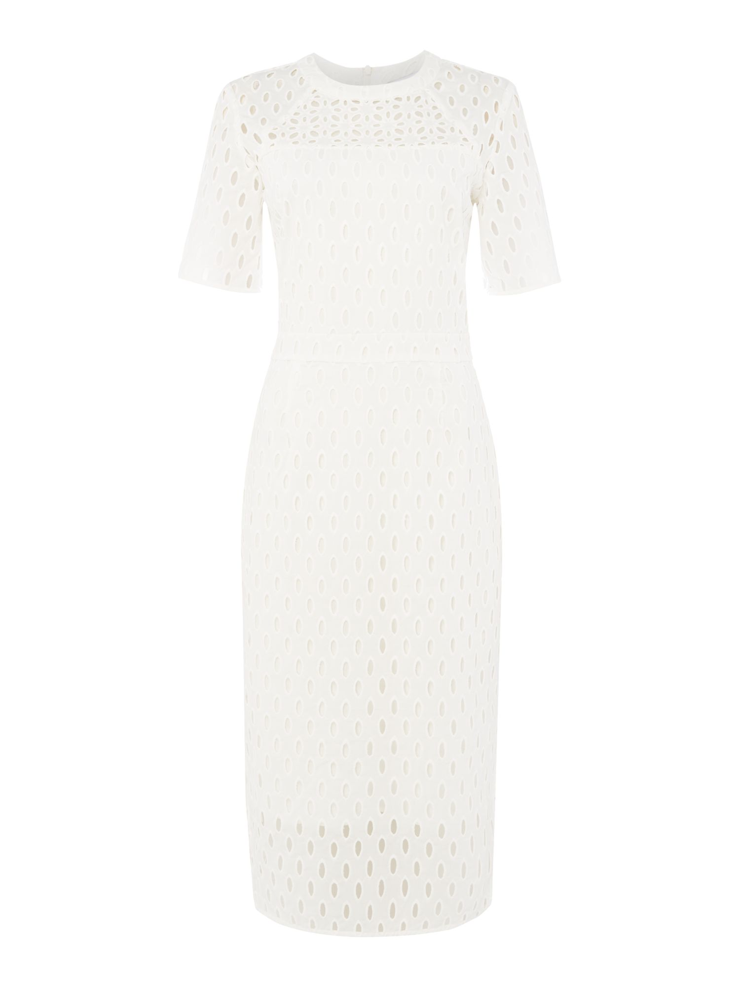 IVY & OAK Ivy & Oak cap sleeve brodery dress with round neck, White