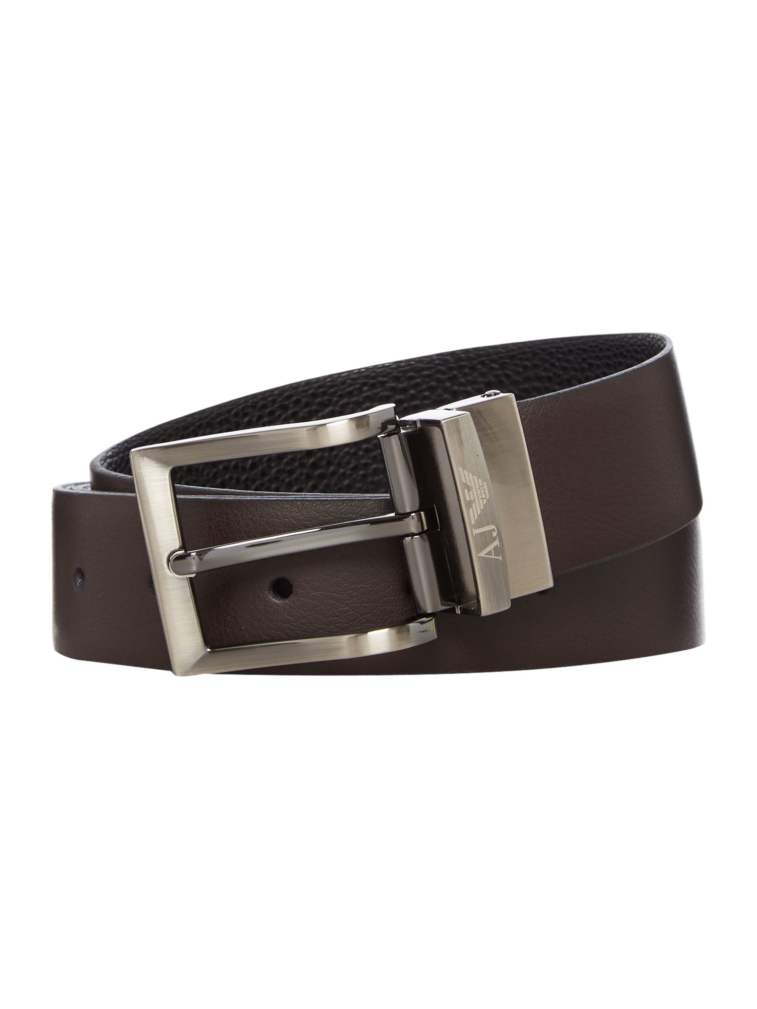 Armani Jeans Reversible Logo Buckle Belt BlackBrown