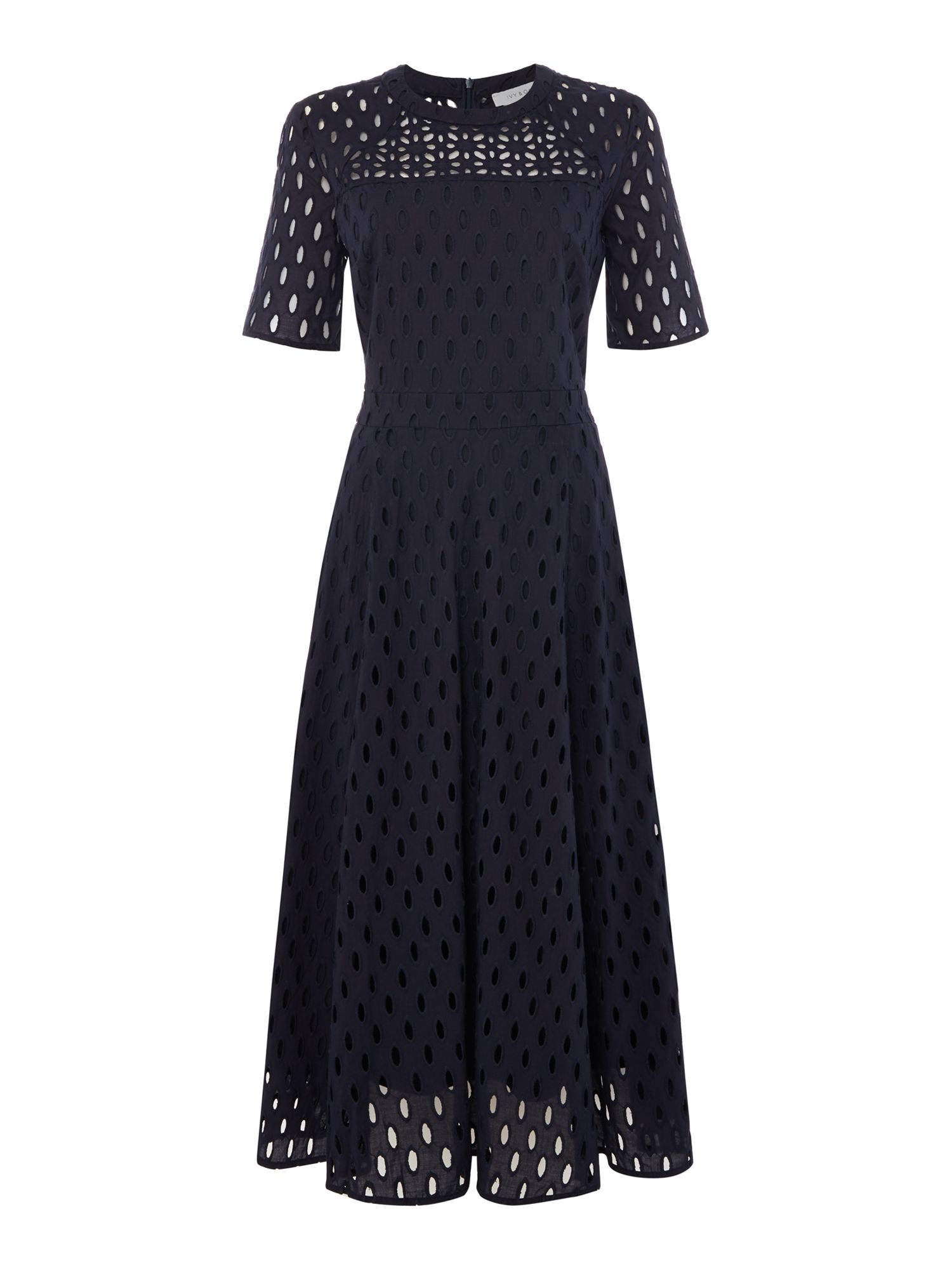 IVY & OAK Ivy & Oak Brodery short sleeve fit and flare dress, Midnight Blue