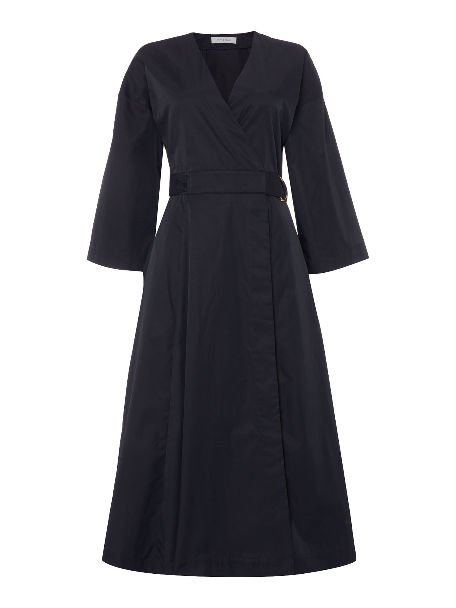 Ivy & Oak Pleat skirt dress with 3/4 sleeve and wrap top, Midnight Blue