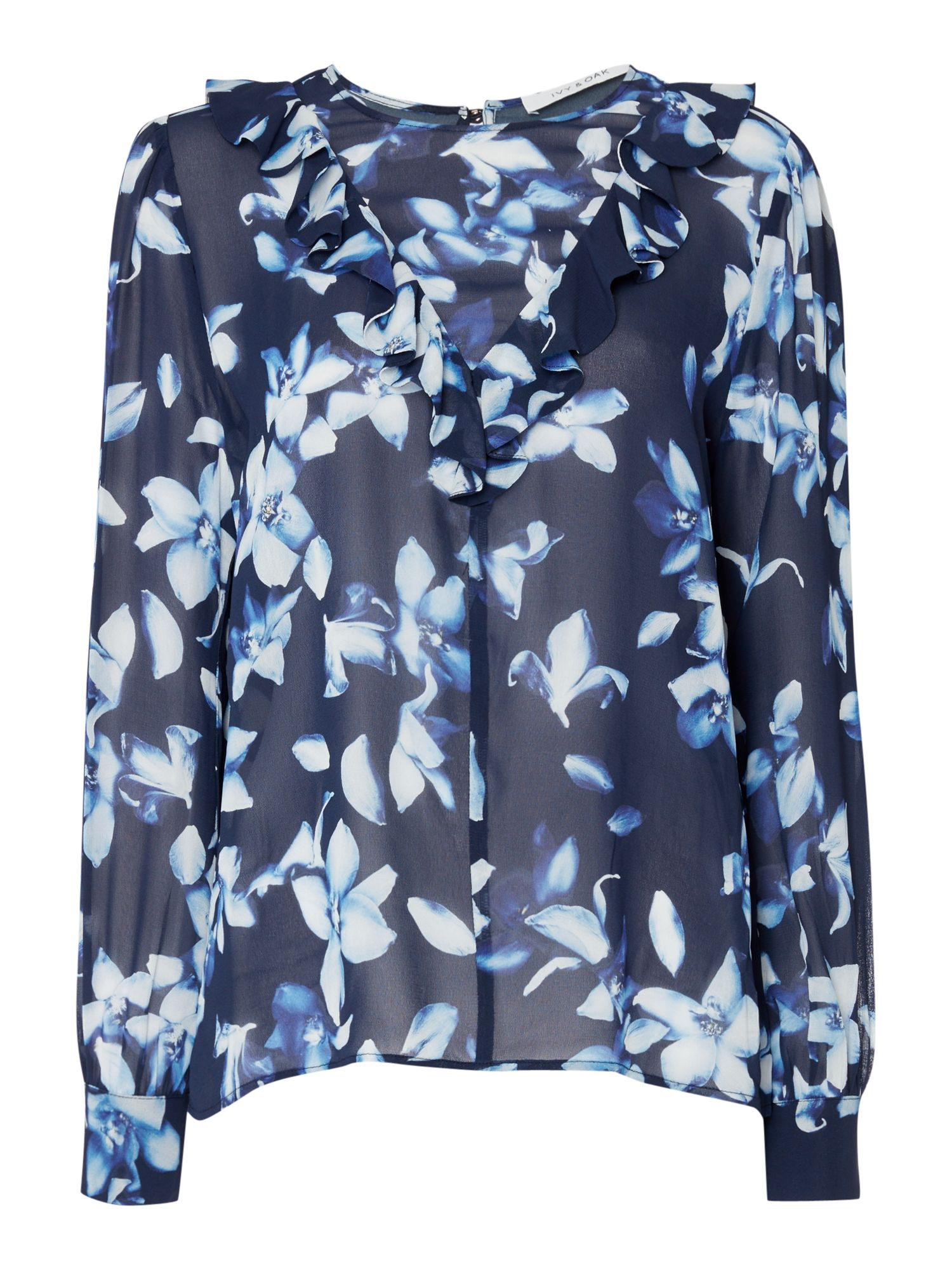 IVY & OAK Ivy & Oak long bell sleeve floral printed chiffon blouse, Midnight Blue