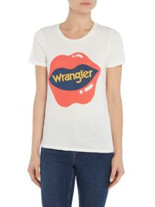 Wrangler Round neck logo tee in off white