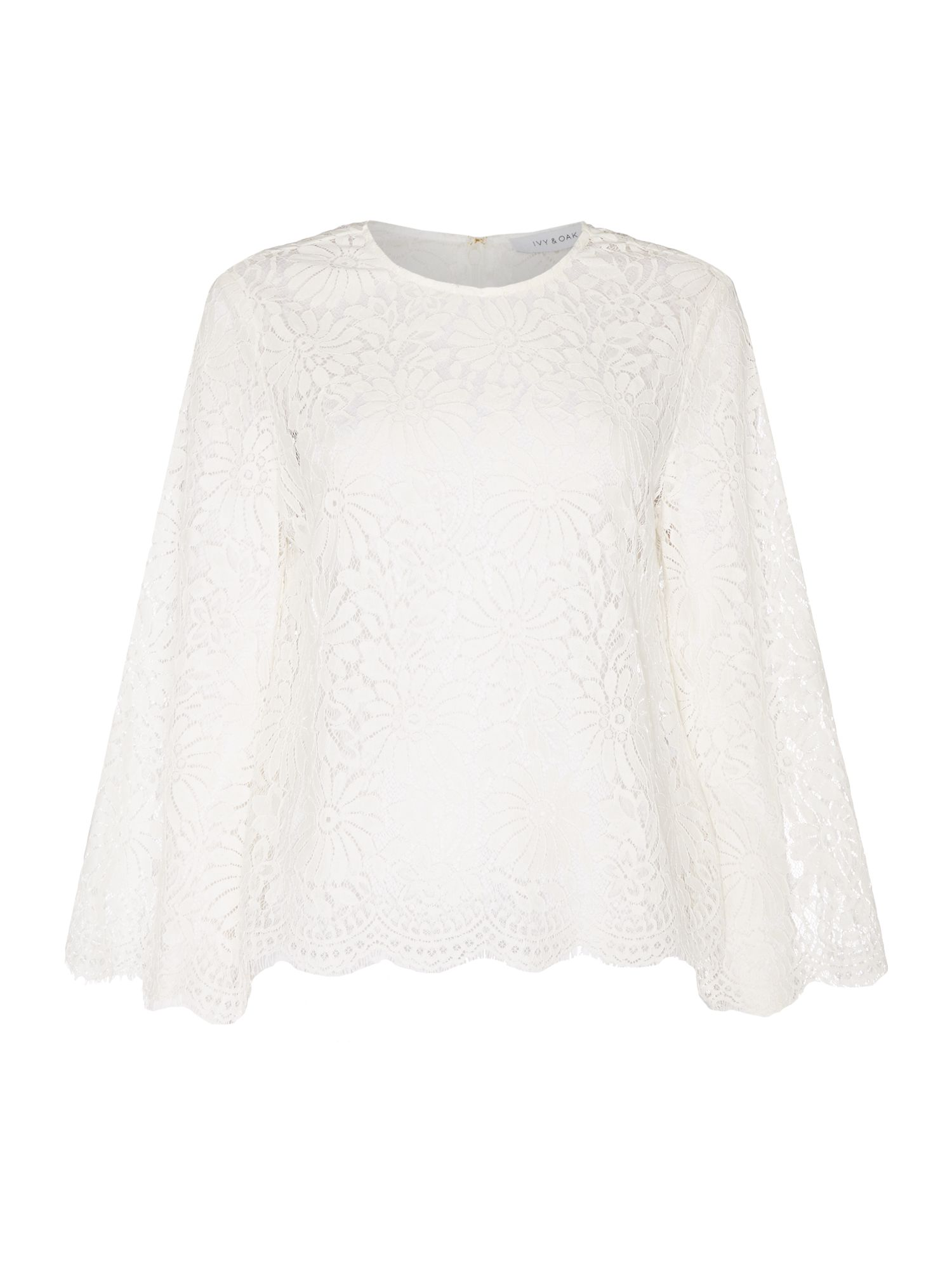 Ivy & Oak Lace round neck blouse with flared sleeve, White