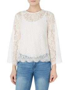 Ivy & Oak Lace round neck blouse with flared sleeve