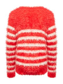 Benetton Girls Long Sleeve Fluffy Stripe Knit Jumper