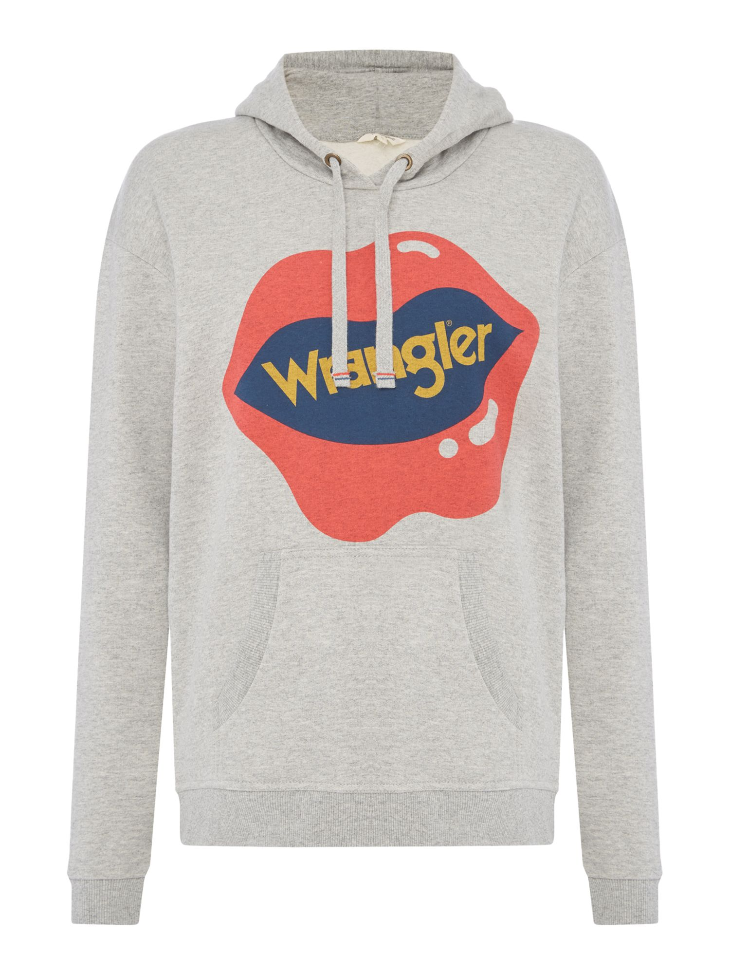 Wrangler Rainbow logo sweat in mid grey mele, Grey