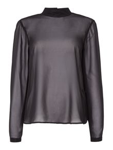 Vero Moda Long sleeve high neck sheer leopard top