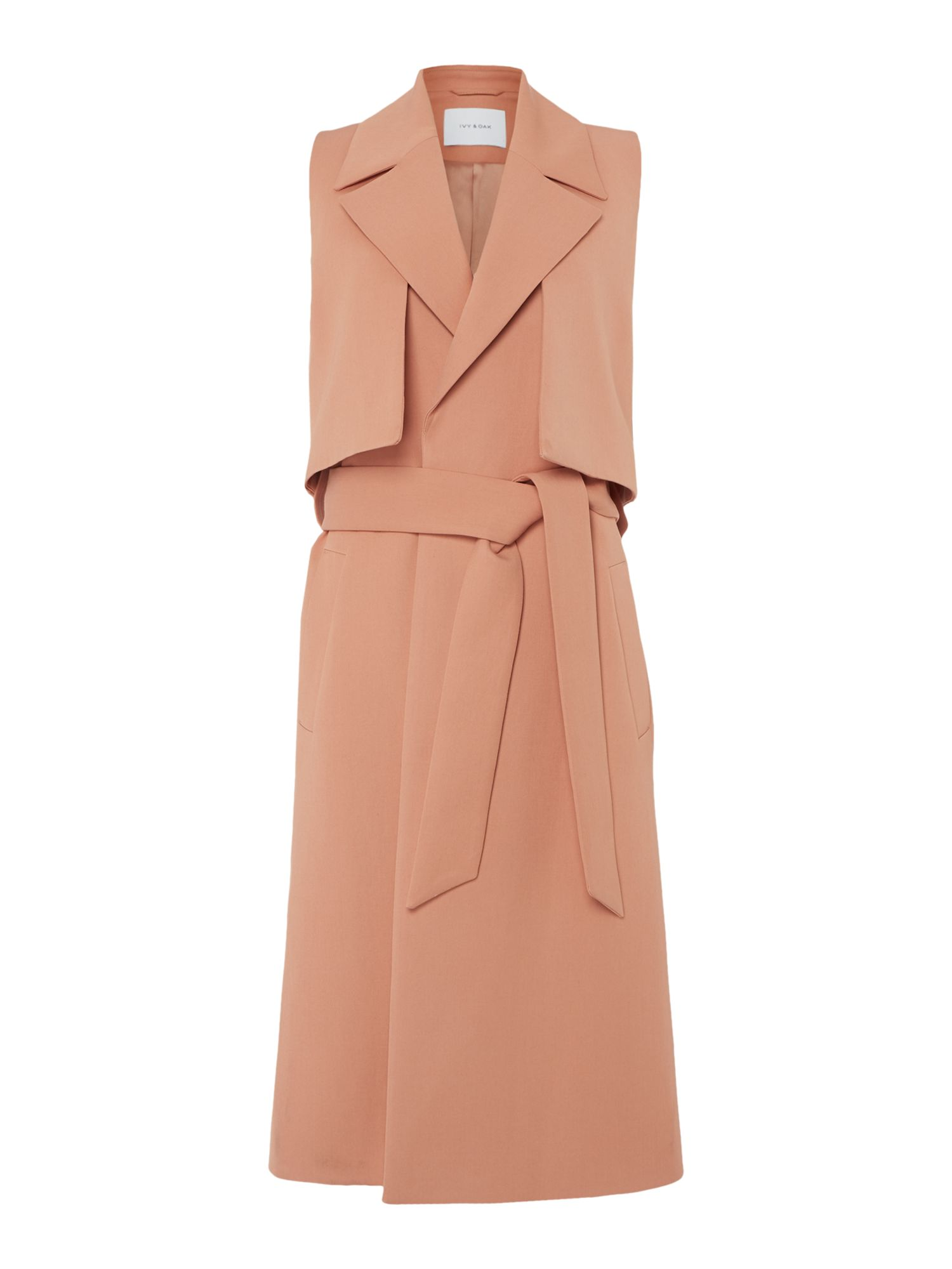Ivy & Oak Sleeveless trench coat with belt, Pink