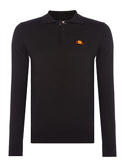 Long sleeve knitted merino polo