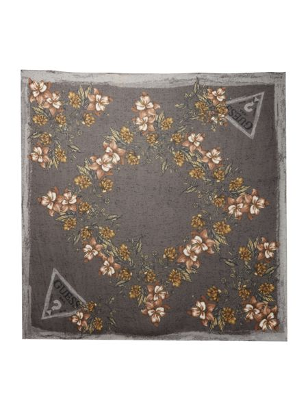 Guess Floral logo square scarf
