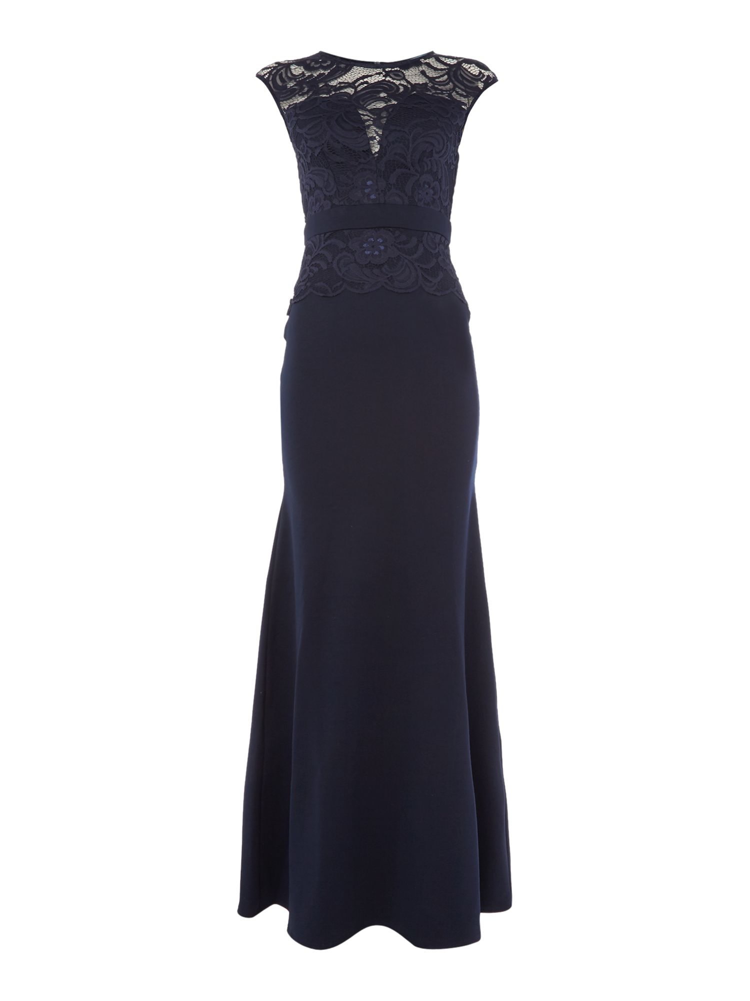 Jessica Wright Cap Sleeve Lace Maxi Dress, Blue