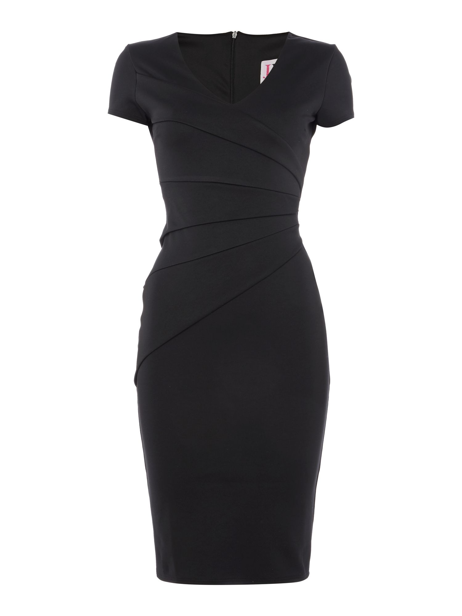 Jessica Wright Cap Sleeve V Neck Bodycon Dress, Black