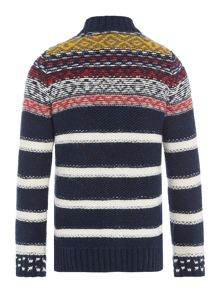 Benetton Boys Fairisle Stripe Zip Up Cardigan