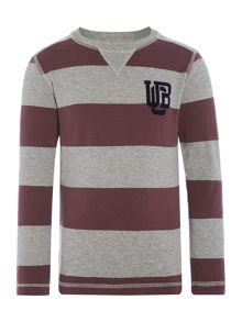 Benetton Boys Block Stripe Tshirt Long Sleeve