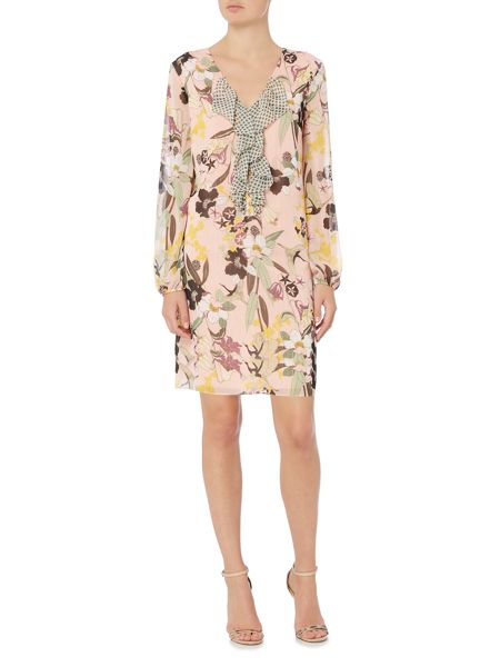 Biba Printed frill front dress